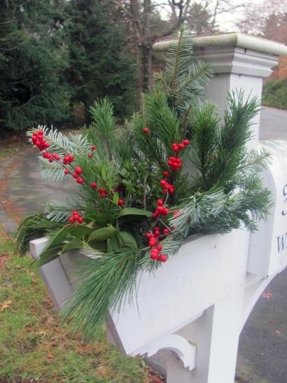 Wayland mailbox designed with custom winter greens
